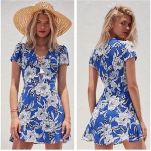 Lovers + Friends Blue Floral Cassidy Riviera Dress
